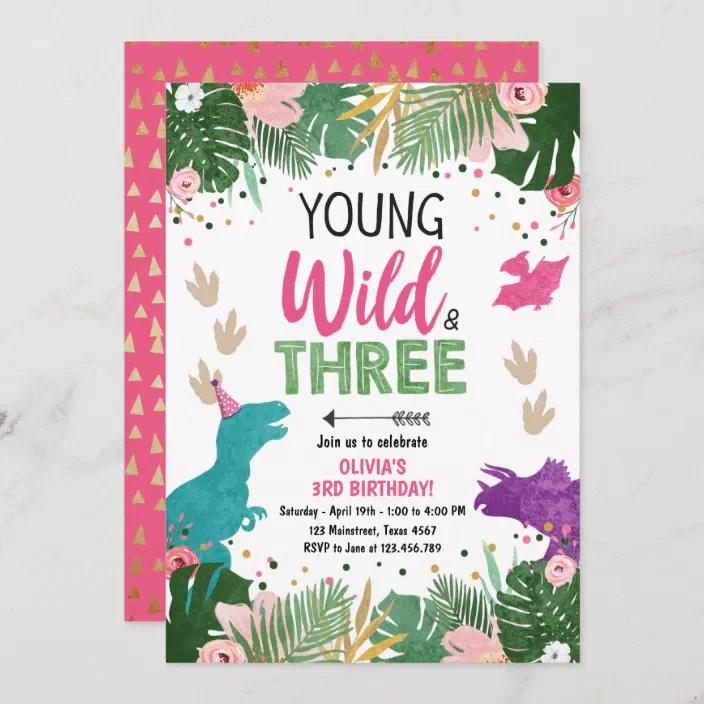 It's time to take your celebration to the next level. Wild Three Dino Party Girl Pink Dinosaur Birthday Invitation Zazzle Com