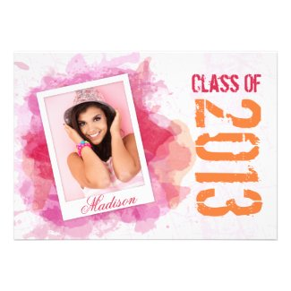 Wild Watercolor Splash Graduation Flat Card