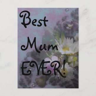 wildflower, Best Mum EVER! heart postcard
