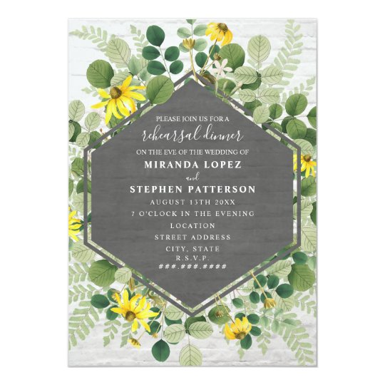 Wildflower Bouquet White Brick Wedding Rehearsal Invitation