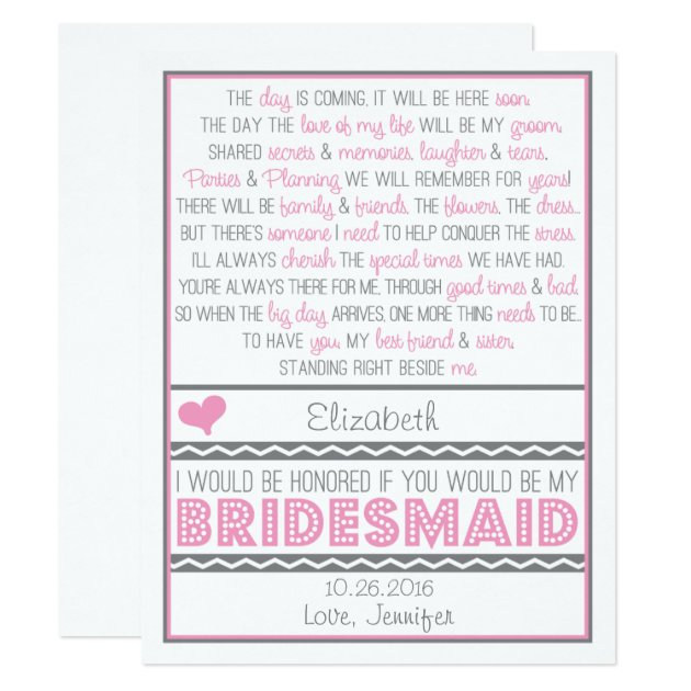 Will You Be My Bridesmaid Poem Cards Zazzle