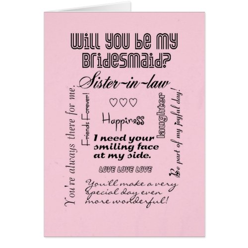 Will You Be My Bridesmaid, Pink, Sister-in-Law Greeting Card