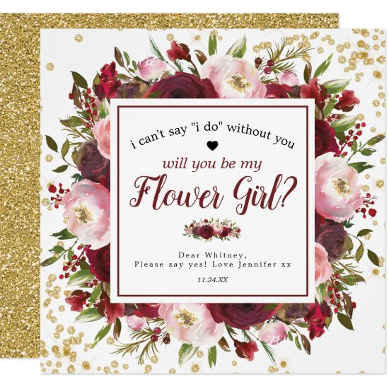 Will you be my Flower Girl   Rustic Burgundy Blush Invitation