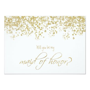 Will you be my maid of honor? Gold Confetti Invitation