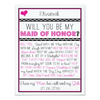 Will you be my Maid of Honor? Pink/Black Collage 4.25x5.5 Paper Invitation Card
