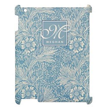 William Morris, Art Nouveau Blue Marigold Monogram Case For The iPad