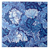 William Morris Floral, Cobalt Blue and White Ceramic Tile ...
