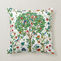 William Morris Tree of Life Pattern, Green & Multi Throw Pillow