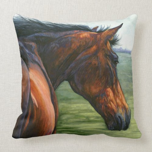 Windswept - Bay Horse Pillow throwpillow