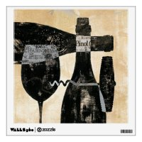Wine Bottle and Glass Wall Decal | Zazzle