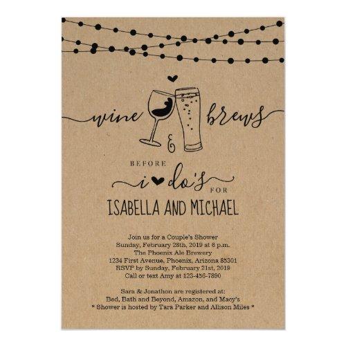 Wine & Brews Before I Do Couple Shower / Rehearsal Invitation