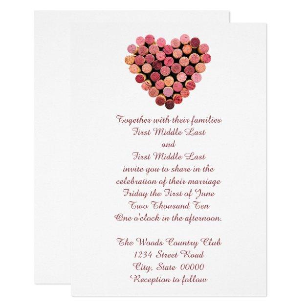 Wine Corks Heart Wedding Invitations