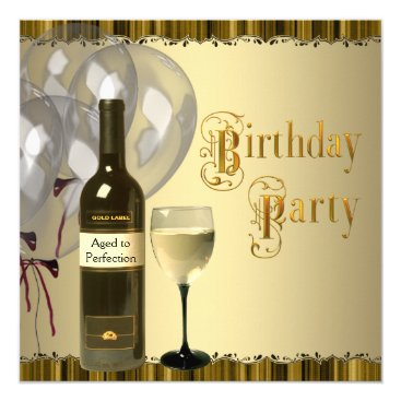 Wine Glass Bottle Any Number Birthday Party Invitation