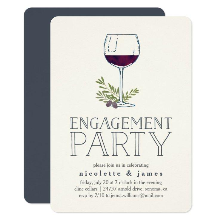Wine Tasting Engagement Party Invitation