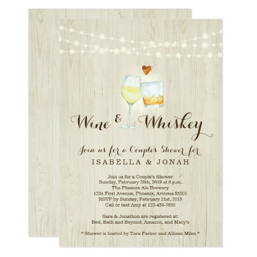 Wine & Whiskey Couple Shower Rehearsal Engagement Invitation