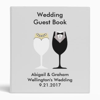 Wineglasses Wedding Guest Book 3 Ring Binder