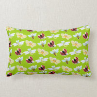 Wing-Nutz™_Fluttering Buddies_ pattern_lime meadow Lumbar Pillow