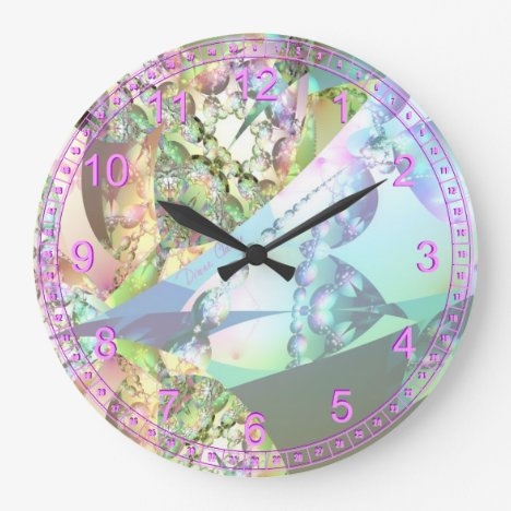 Wings of Angels Amethyst Crystal Abstract Fractal Large Clock