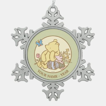 Winnie the Pooh and Piglet | Classic Add Your Name Snowflake Pewter Christmas Ornament