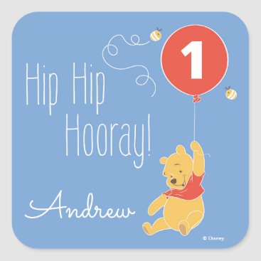 Winnie the Pooh Balloon | Boy - First Birthday Square Sticker