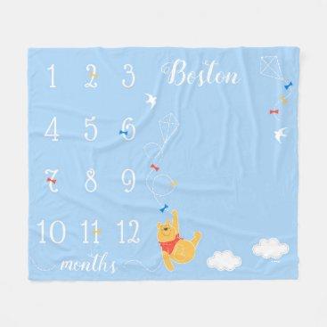 Winnie the Pooh | Blue Baby Monthly Milestone Fleece Blanket