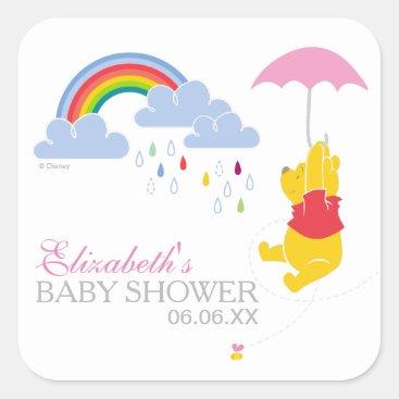 Winnie the Pooh | Girl Baby Shower Square Sticker