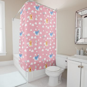Winnie the Pooh | Pink Flying Kite Days Pattern Shower Curtain
