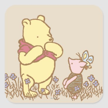 Winnie the Pooh | Pooh and Piglet in Field Classic Square Sticker
