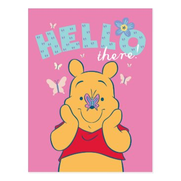 Winnie the Pooh with Butterflies - Hello There Postcard