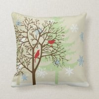 Winter Birds Throw Pillows