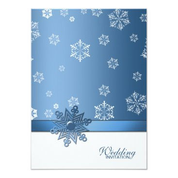Winter Blue and White Snowflake Wedding Invites