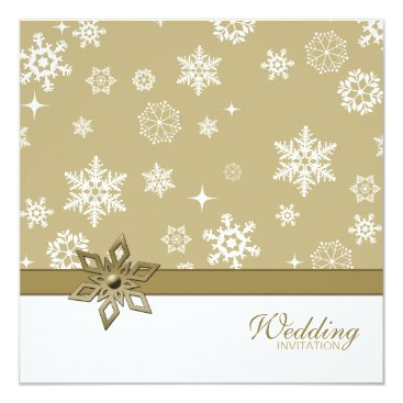 Winter Champagne and white Snowflakes Wedding Invitation