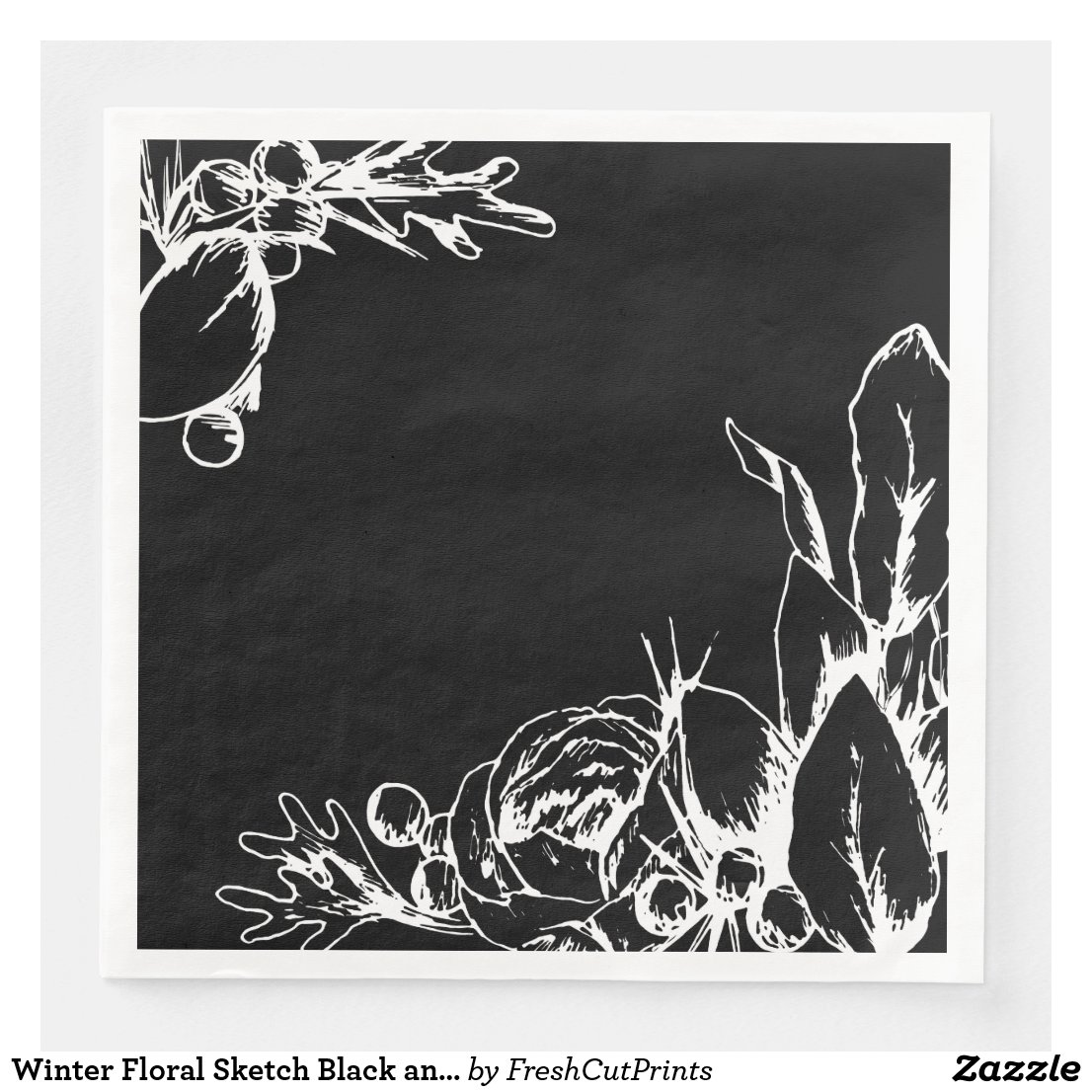 Winter Floral Sketch Black and White Holiday Paper Dinner Napkin