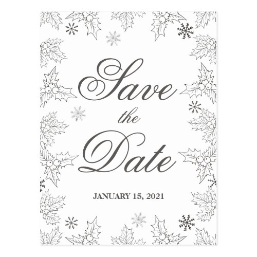 Winter frost. Gray & white wedding Save the Date Postcard