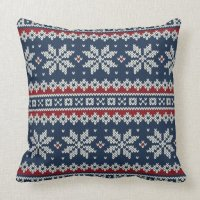 Winter Holiday Knitted Pattern Throw Pillow | Zazzle