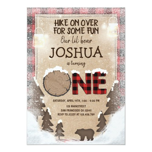 Winter Lumberjack Birthday Invitation Woodland
