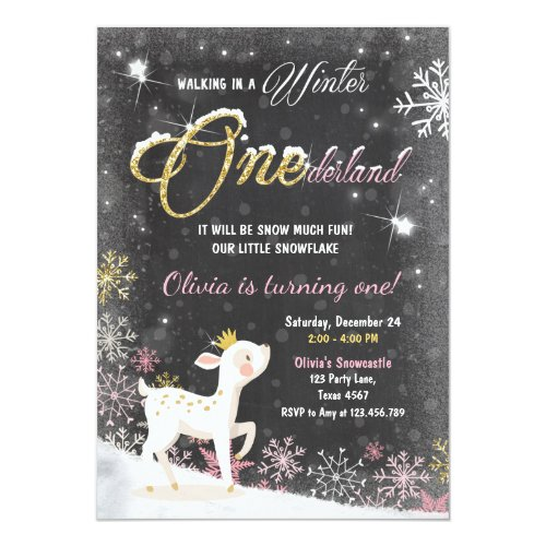 Winter Onederland birthday invite pink Gold deer