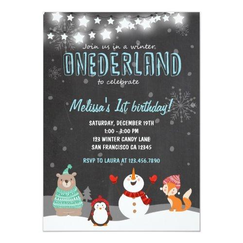 Winter ONEderland birthday party invitation aqua