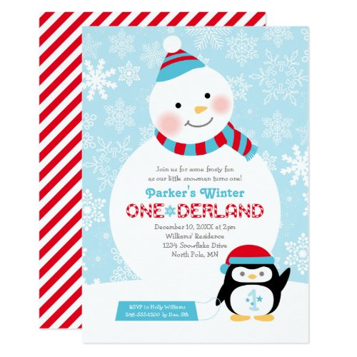 Winter ONEderland Birthday | Snowman and Penguin Invitation