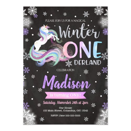 Winter ONEderland Unicorn 1st Birthday Invitation by HappyPandaPrint