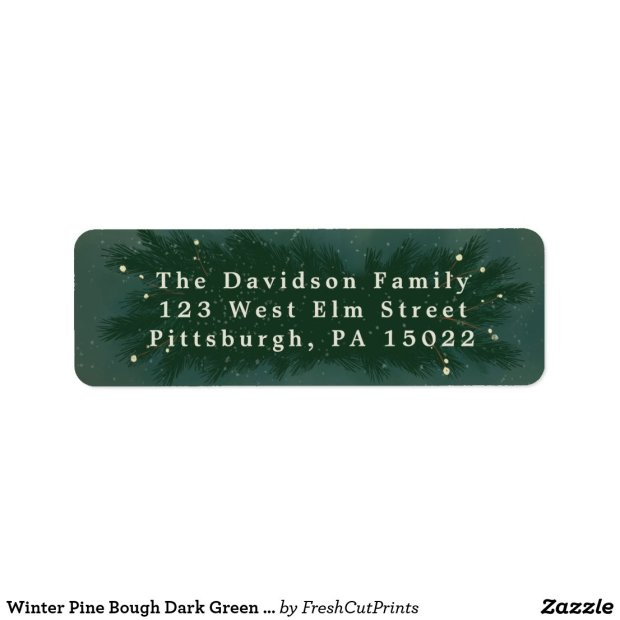 Winter Pine Bough Dark Green Return Address Labels