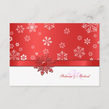 Winter Red & White Snowflake RSVP Cards