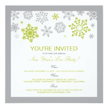 Winter Snow New Year's Eve Party Invitation (lime)