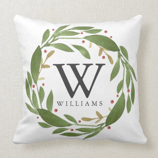 Winter Sprigs Monogrammed Christmas Pillow