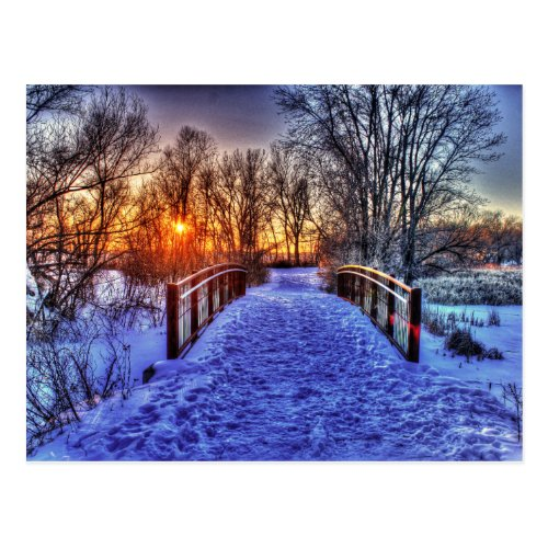 Winter Sunset at the Bridge Postcard
