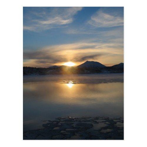 Winter Sunset in Aleknagik Postcard