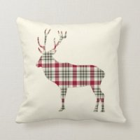 Winter Tartan Plaid Deer Throw Pillow