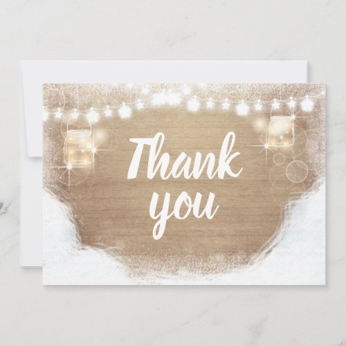 Winter thank you Rustic Wood Snow Shower Birthday