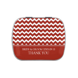 Winter Wedding Favor Candy Tin Red Chevron