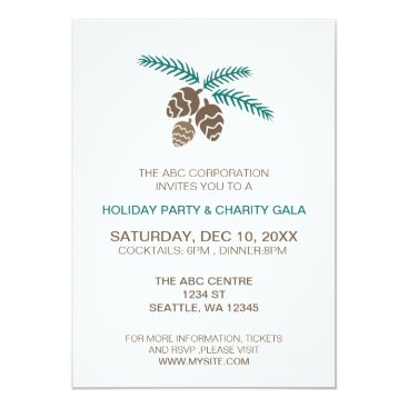 winter woodland pine cones Holiday party Invites